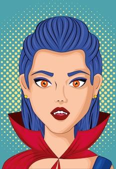 Mujer joven disfrazada de arte pop estilo vampiro
