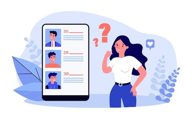 Mujer joven eligiendo socio en la red social. ilustración de vector plano. chica de pie junto a un teléfono inteligente gigante, viendo perfiles de hombres de diferentes edades. internet, amor, concepto de aplicación de citas