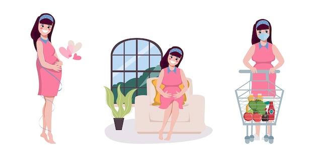 Mujer joven embarazada compras en línea y servicio de entrega
