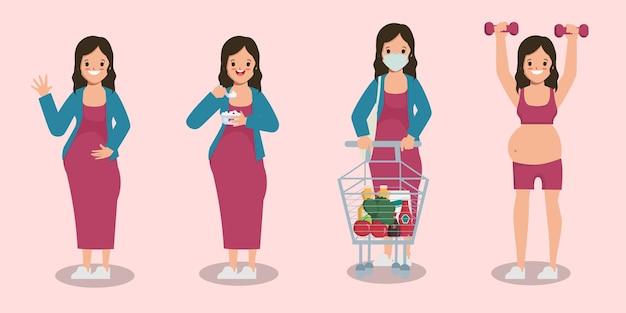Mujer joven embarazada personaje diferencia pose animación dibujos animados diseño plano