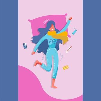 Mujer joven enferma en la cama con los síntomas del resfriado, la gripe.
