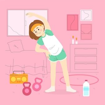 Mujer joven entrenando en casa