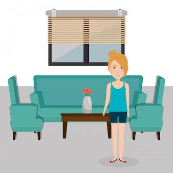 Mujer joven en la escena del personaje de la sala de estar
