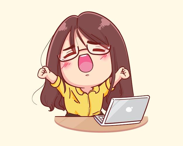 Mujer joven estirarse después de mucho trabajo en la ilustración de dibujos animados de la computadora portátil