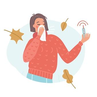 Mujer joven estornudando o tosiendo en pañuelo con termómetro de alta temperatura. concepto de fiebre, gripe, covid-19, protección antivirus, prevención, infección, virus pandémico. ilustración de vector plano.