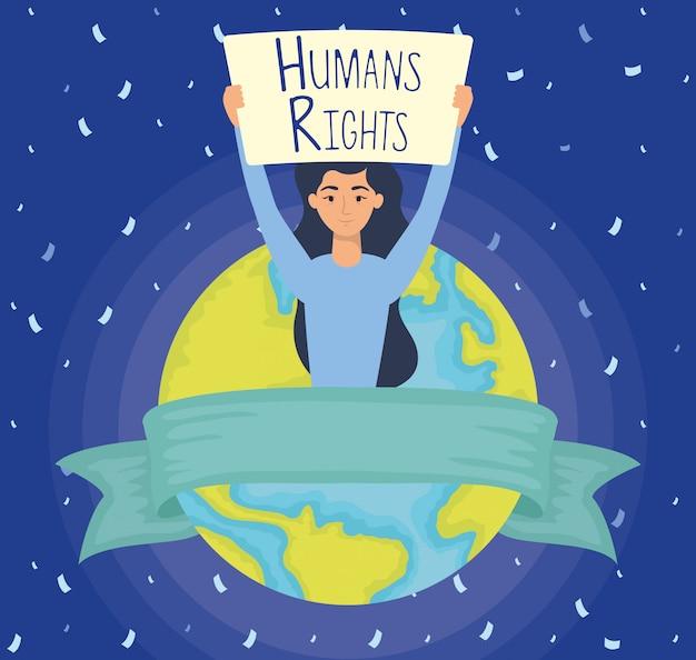 Mujer joven con etiqueta de derechos humanos y diseño de ilustración de vector de planeta tierra