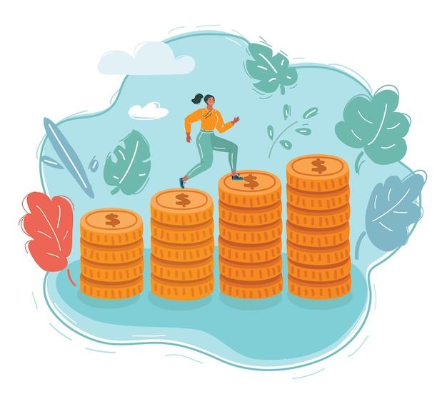 Mujer joven feliz caminar sobre monedas apiladas