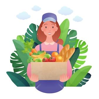 Mujer joven feliz que lleva artículos comestibles trabaja en dibujos animados planos del mercado de agricultores aislado sobre fondo blanco