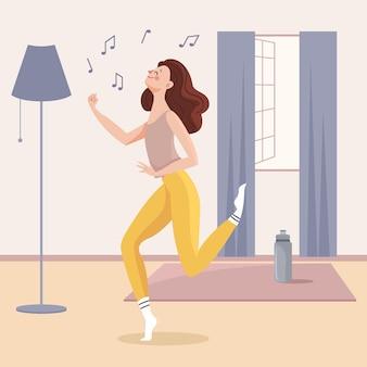 Mujer joven fitness bailando en casa ilustrada