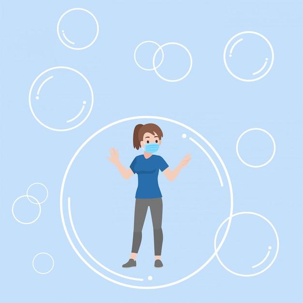 Mujer joven flotando dentro de la burbuja comunicarse