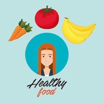 Mujer joven con frutas y verduras