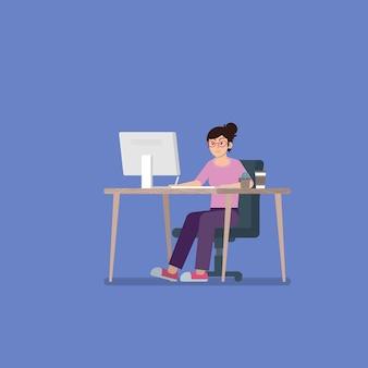 Mujer joven con gafas en ropa casual trabajando en una computadora de escritorio en el escritorio con tableta digitalizadora, taza de café y cactus en estilo plano