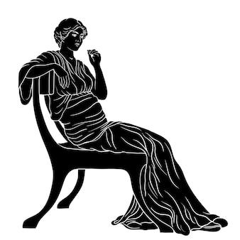 Mujer joven griego antiguo en una túnica se sienta en una silla