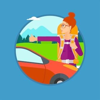 Mujer joven haciendo autostop.