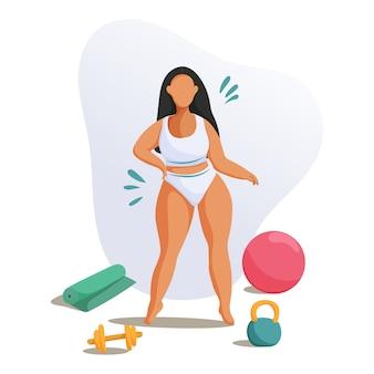 Mujer joven haciendo fitness. concepto de estilo de vida saludable.