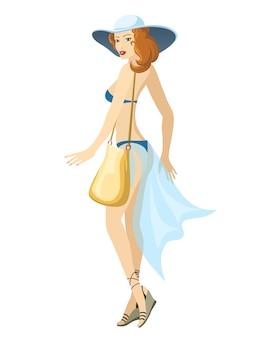 Mujer joven hermosa de pie vestida con un traje de baño azul y sombrero con bolso. ilustración vectorial