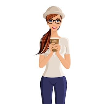 Mujer joven hipster celebración de taza de café retrato aislado sobre fondo blanco ilustración vectorial