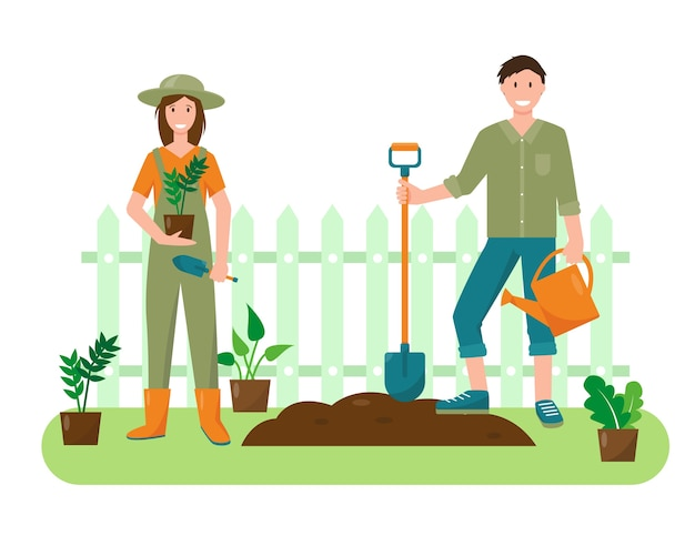 Mujer joven y hombre con plantas y herramientas de jardinería en el jardín. concepto de jardinería. ilustración de fondo o banner de primavera o verano.