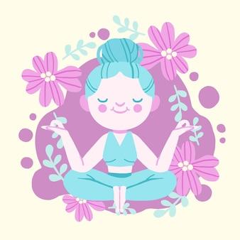 Mujer joven ilustrada meditando