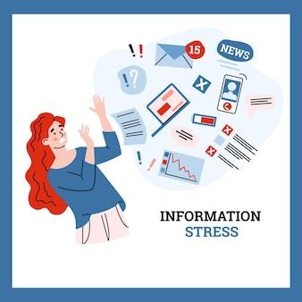 Mujer joven intenta detener el estrés y la sobrecarga de información por flujo de datos