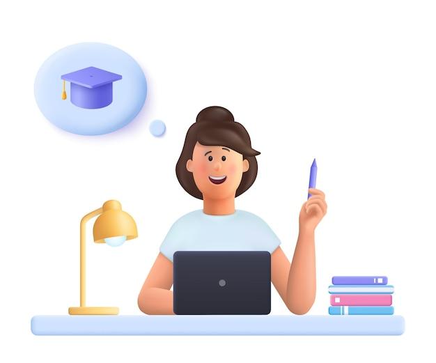 Mujer joven jane haciendo tarea pensando en graduación 3d vector gente personaje ilustración