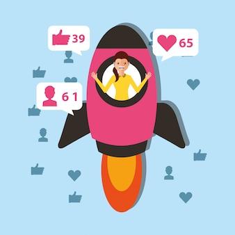 Mujer joven en lanzamiento de cohete inicio contenido viral