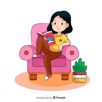 Mujer joven, leer un libro