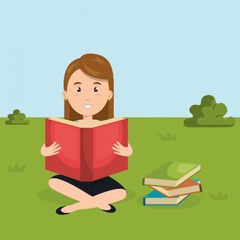 Mujer joven leyendo en la escena del personaje de campo