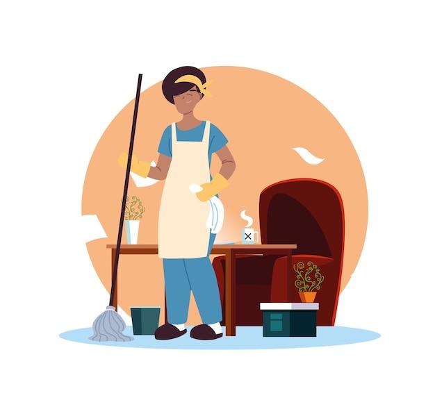 Mujer joven limpieza en casa desing