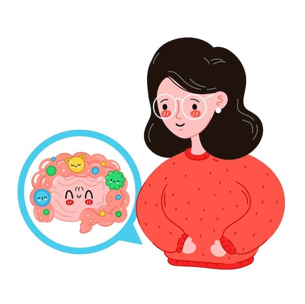 Mujer joven linda sonrisa feliz con intestino sano divertido. diseño de ilustración de dibujos animados plano de vector. aislado sobre fondo blanco. órgano de intestino de microflora saludable, probiótico, concepto de bacterias buenas