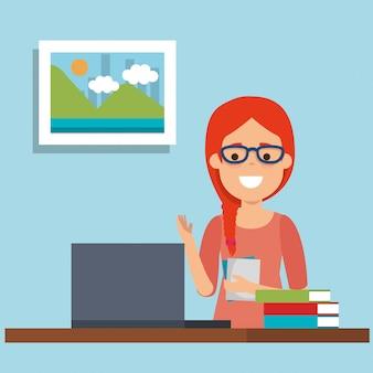 Mujer joven en lugar de trabajo