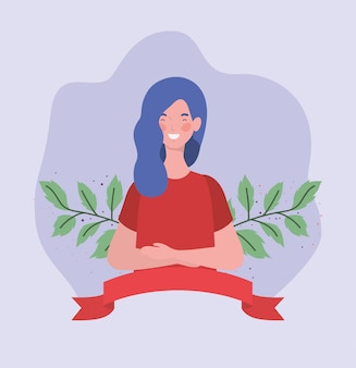 Mujer joven con marco de cinta y hojas
