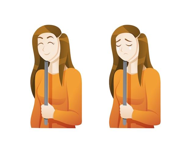 Mujer joven con una máscara de expresión