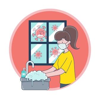 Una mujer joven con una máscara y lavándose las manos para prevenir los gérmenes