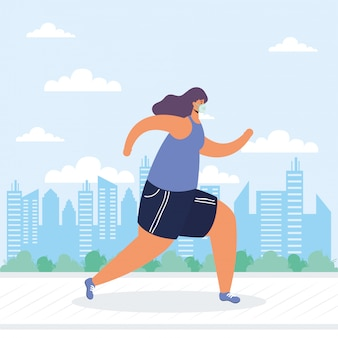 Mujer joven con máscara médica corriendo personaje de avatar