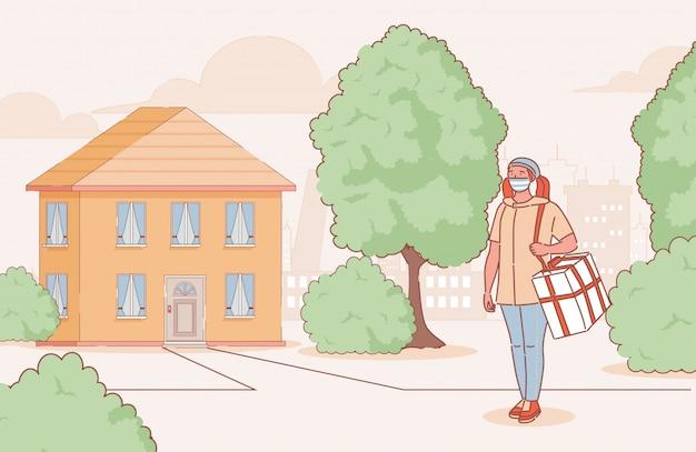 Mujer joven en máscara médica entrega productos o alimentos a la ilustración de contorno de dibujos animados de casa de campo.