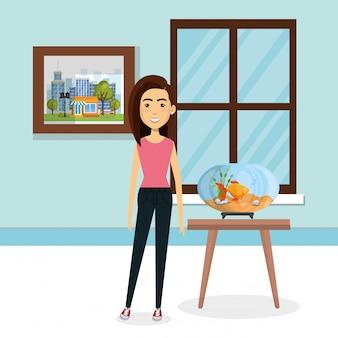 Mujer joven con mascota en la casa