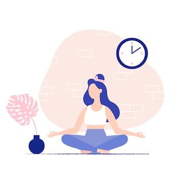 Mujer joven meditando en casa. postura de meditación. vector ilustración plana.