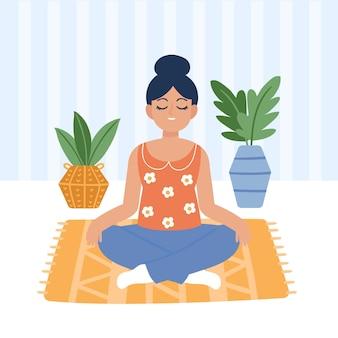 Mujer joven meditando ilustrada