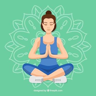 Mujer joven meditando
