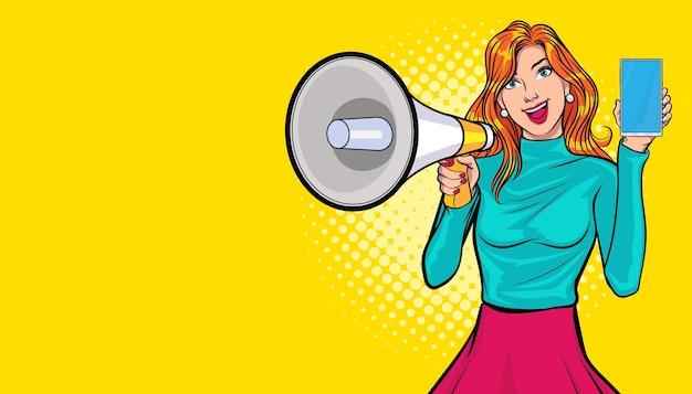 Mujer joven con megáfono y estilo de cómics de arte pop de teléfono inteligente.