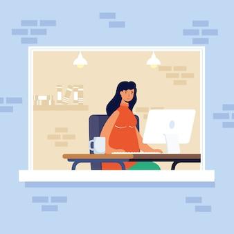 Mujer joven mujer con escritorio en el lugar de trabajo