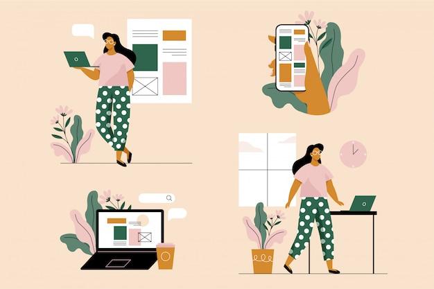 Mujer joven con ordenador portátil y teléfono inteligente. conjunto de 4 ilustraciones. ilustración de vector de estilo plano