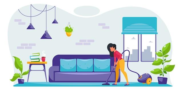 Mujer joven pasar la aspiradora en la sala de estar. limpieza de la casa. mujer de limpieza. en estilo plano.