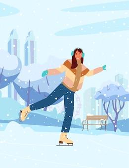 Mujer joven patinaje sobre hielo en winter park en pista. silueta de la ciudad, árboles nevados y banco.