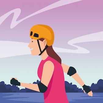 Mujer joven con patines de dibujos animados