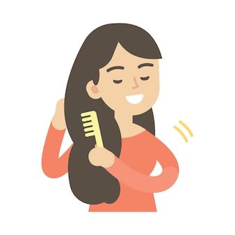 Mujer joven, peinar el pelo