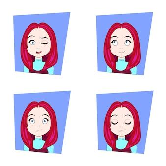 Mujer joven con el pelo rojo diferentes emociones faciales conjunto de expresiones de cara de niña