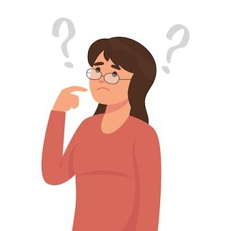 Mujer joven está pensando con muchas preguntas.