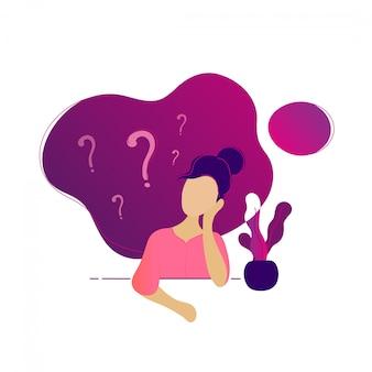 Mujer joven pensando sentado bajo signos de interrogación
